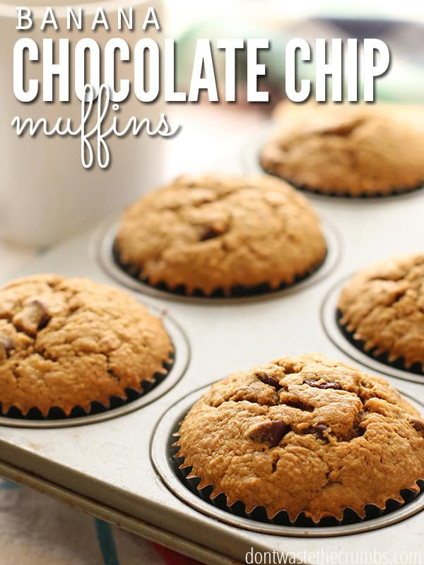 These look so good! Banana chocolate chip muffins made with oat flour and just enough sweet to make them delightful. A hands-down winner in our family, every time! :: DontWastetheCrumbs.com