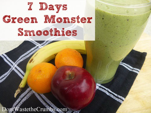 7 Days Green Monter Smoothies | DontWastetheCrumbs.com