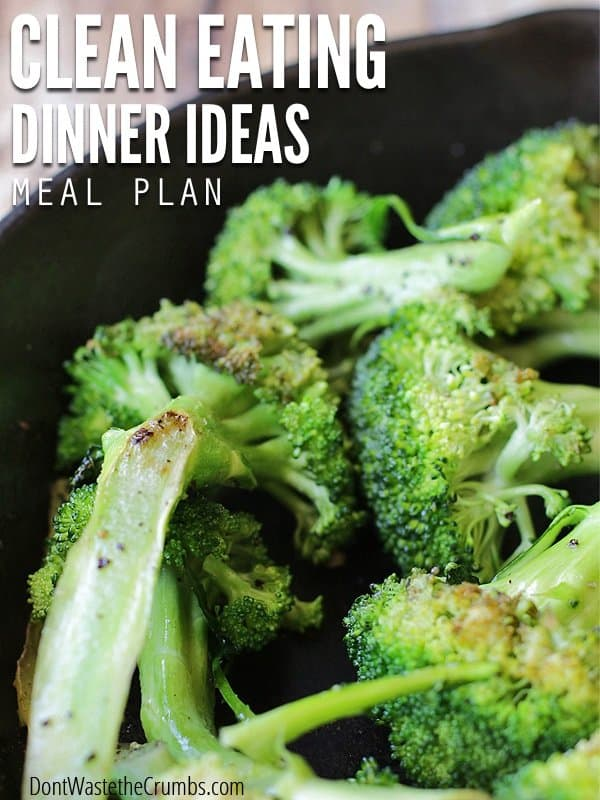 Clean eating dinner ideas are at your fingertips with this full month menu. This meal plan feeds a family of four wholesome food for about $350. :: DontWastetheCrumbs.com
