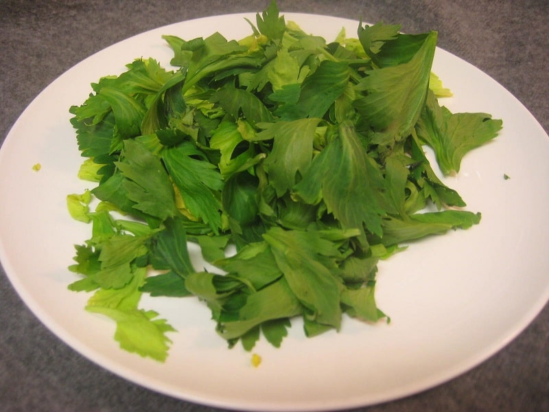 Celery Leaves on a Plate