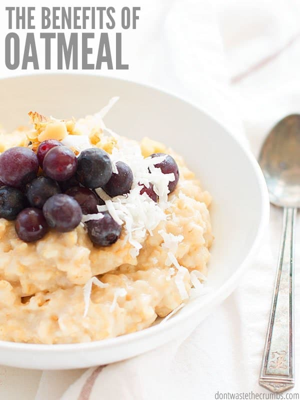 Oats are cheap, but oatmeal benefits your skin and can help weight loss too. Whether you like Scottish or instant, cinnamon or blueberries, eat more oats! :: DontWastetheCrumbs.com