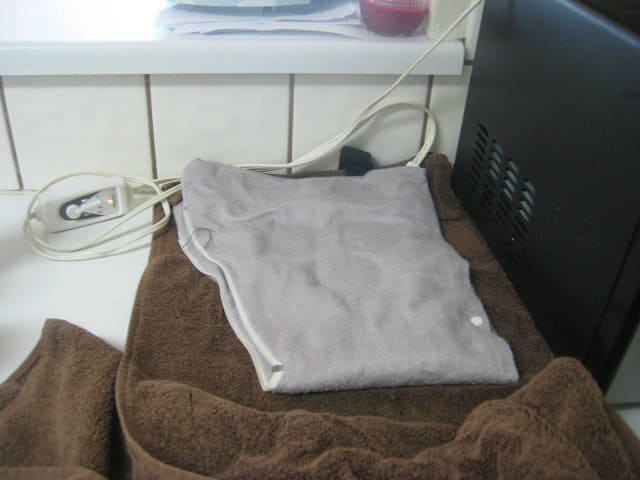 Heating Pad Set Up on Counter