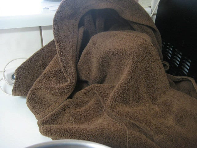 Towel Covering Pot on Heating pad