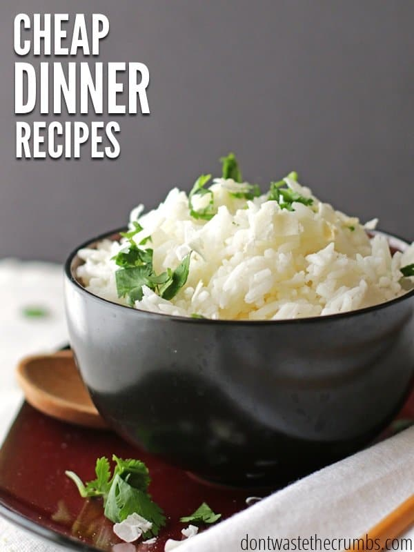 Find a whole month of cheap dinner recipes to feed your family healthy food without going broke! This plan is designed for a family of four for about $350. :: DontWastetheCrumbs.com