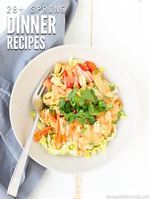 Enjoy these spring dinner recipes for your meal plan! Feed a family of four without going broke. This plan costs about $350. :: DontWastetheCrumbs.com
