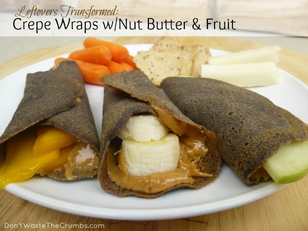 These crepe wraps with nutter butter and fruit are a delicious way to have crepes for breakfast without even leaving the house. :: DontWastetheCrumbs.com