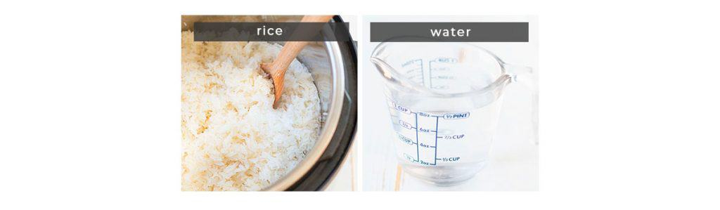 Image containing recipe ingredients rice and water.