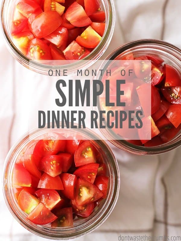 Use these simple dinner recipes for your next monthly meal plan. This plan is designed to feed a family of four for around $350. :: DontWastetheCrumbs.com