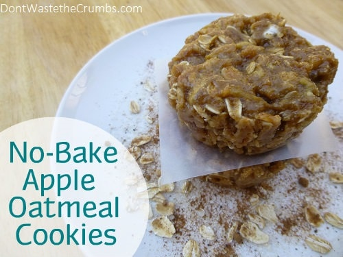 It's not easy to bake with kids in the kitchen, but these No Bake Apple Oatmeal Cookies make it much easier. Seasonal apples and hearty oatmeal make a great dessert! :: DontWastetheCrumbs.com
