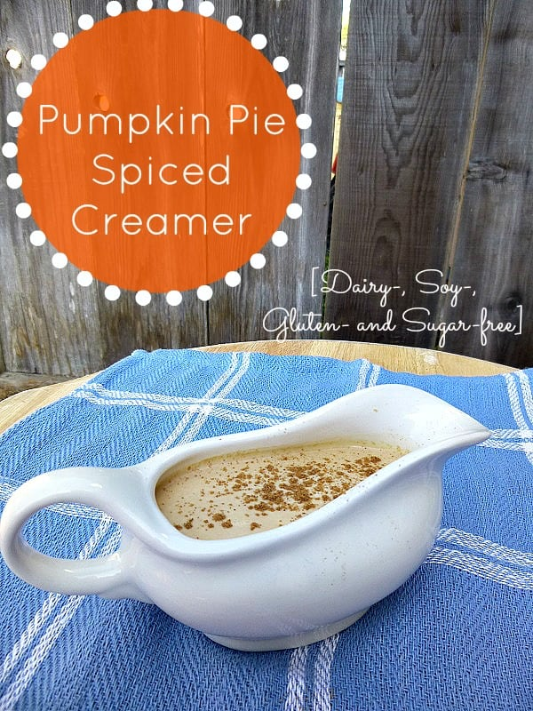 All natural, homemade non-diary pumpkin coffee creamer made only with real food. So good, you might eat the whole jar! Safe for diary allergies.
