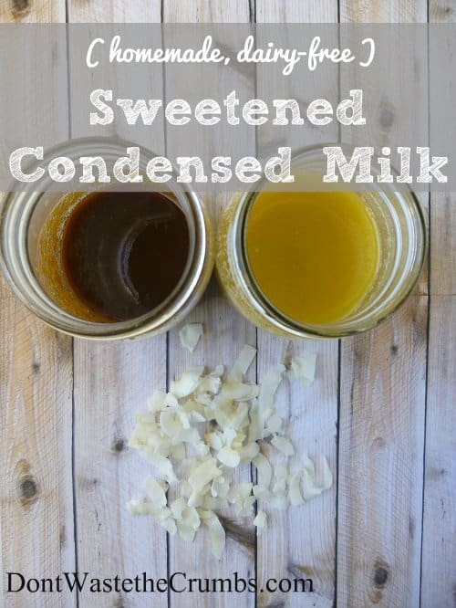 Looking for an alternative to the canned stuff? Try this dairy-free sweetened condensed Milk: A delicious homemade substitute for cooking and baking. :: DontWastetheCrumbs.com