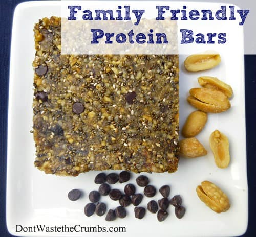 Check out this allergy-friendly, affordable, easy to make, family-friendly, nutrient dense chocolate peanut butter protein bar with no processed ingredients!  :: DontWastetheCrumbs.com