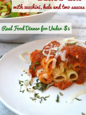 Recipe:  Healthy Baked Ziti with Zucchini and Kale and Two Sauces