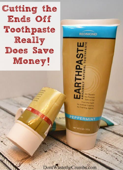Believe it or not, cutting the ends off toothpaste really does save money - up to $10 in just 3 months! :: DontWastetheCrumbs.com