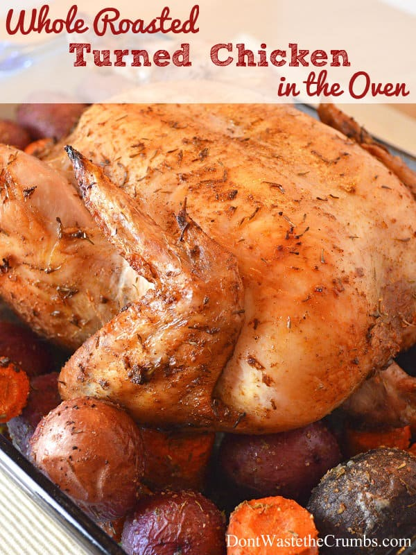 Whole Roasted Chicken in the Oven: This is absolutely the best way to make a whole roasted chicken at home that comes out perfectly cooked, moist and delicious every single time!! :: DontWastetheCrumbs.com