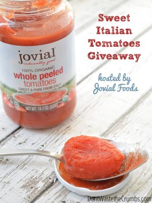 Giveaway:  Sweet Italian Tomatoes by Jovial Foods