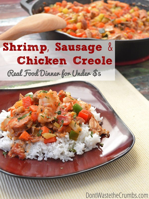 A fully delicious Cajun favorite, this Shrimp Sausage Chicken Creole is made with 100% real food and can feed a family of four for less than $5. :: DontWastetheCrumbs.com