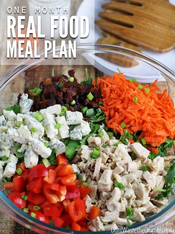 Spending too much on food? This four-week real food eating plan makes it easy. Delicious, healthy meals that feed the average family of four for just $330! :: DontWastetheCrumbs.com