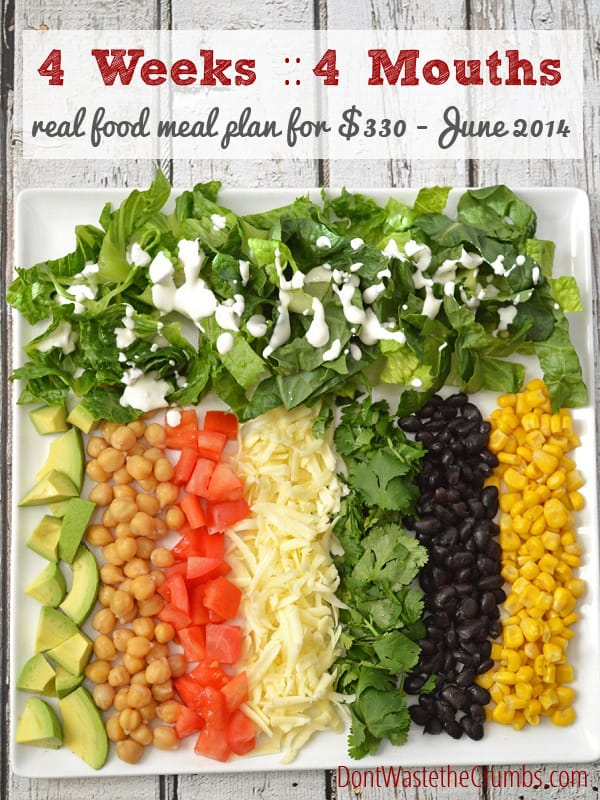 Frugal Real Food Meal Plan: June 2014 :: DontWastetheCrumbs.com