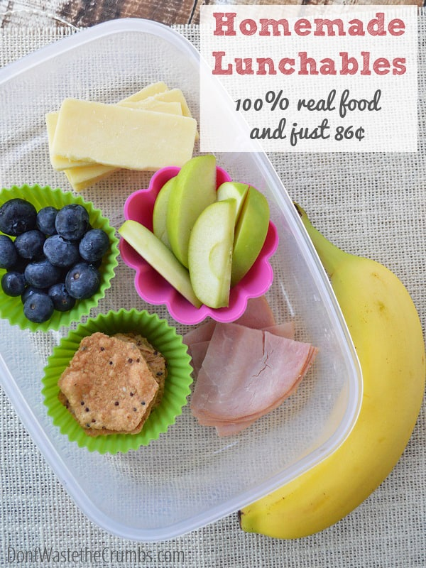#recipe:  Healthy Homemade Lunchables | Make lunch healthy with this frugal alternative to the convenience package - less than $1 per serving, and 100% real food!  :: DontWastetheCrumbs.com #lunch