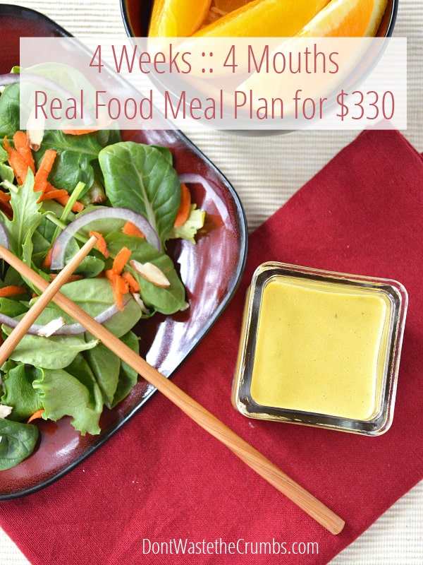 Frugal Real Food Meal Plan: July 2014 - how one family plans to feed real food to 4 mouths for 4 weeks on just $330. :: DontWastetheCrumbs.com