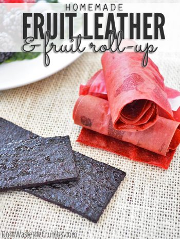 Delicious and easy recipe for homemade fruit leather and homemade fruit roll ups. No special equipment required and just one recipe - fruit! Perfect for school lunch ideas and clean eating snacks! :: DontWastetheCrumbs.com