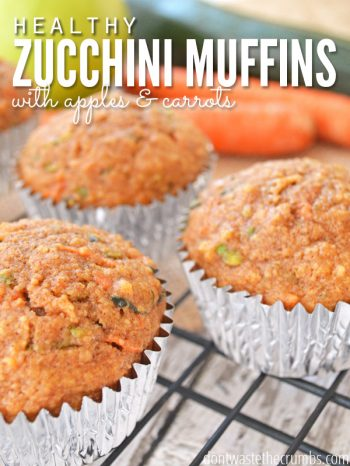 "Muffins on a cooling rack with text overlay, ""Healthy Zucchini Muffins with Apples & Carrots""."