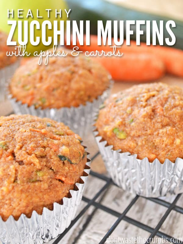 Hands down, our favorite breakfast muffin recipe during the summer - zucchini muffins with apples and carrots! It's an easy recipe, and clean eating with only natural sweeteners. Even the pickiest kids will love it! :: DontWastetheCrumbs.com