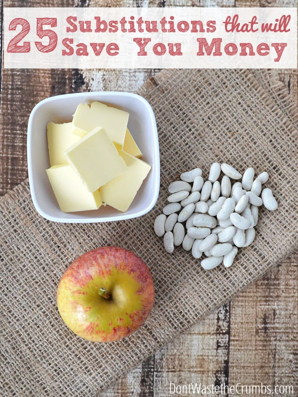 Save money on groceries by swapping out expensive ingredients for more affordable ones with this list of the top 25 frugal food substitutions. :: DontWastetheCrumbs.com