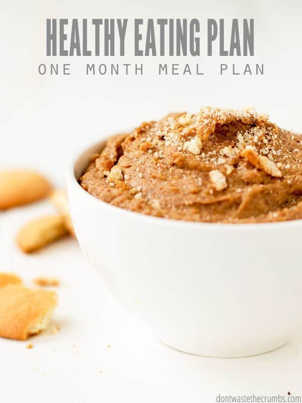 Try some fresh ideas with this healthy eating plan! This one month meal plan gives you 4 weeks of healthy meals to feed your family for about $330! :: DontWastetheCrumbs.com