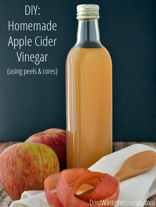 This incredibly simple tutorial for homemade apple cider vinegar starts with unused apple peels and cores and in 2-3 weeks, makes delicious ACV!  Considering the peels & cores were trash anyway, it's making apple cider vinegar for free! :: DontWastetheCrumbs.com