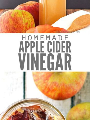 "Two images, the first is a bottle of apple cider vinegar with apples around it. The second image is a mason jar filled with apple peels and water. Text overlay says, ""Homemade Apple Cider Vinegar""."