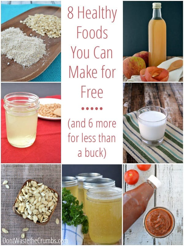 Healthy food doesn't have to be expensive! Get a great list of healthy foods you can make for free or less than $1 - using items you likely already have in your pantry! Make these and you'll be trimming your grocery budget in no time! :: DontWastetheCrumbs.com