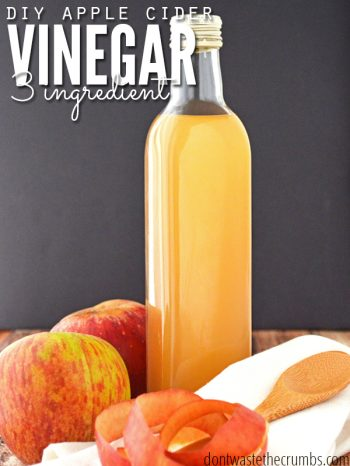 Make your own homemade apple cider vinegar with this easy tutorial! Avoid wasting apple scraps and use them in this simple recipe for ACV. :: DontWastetheCrumbs.com