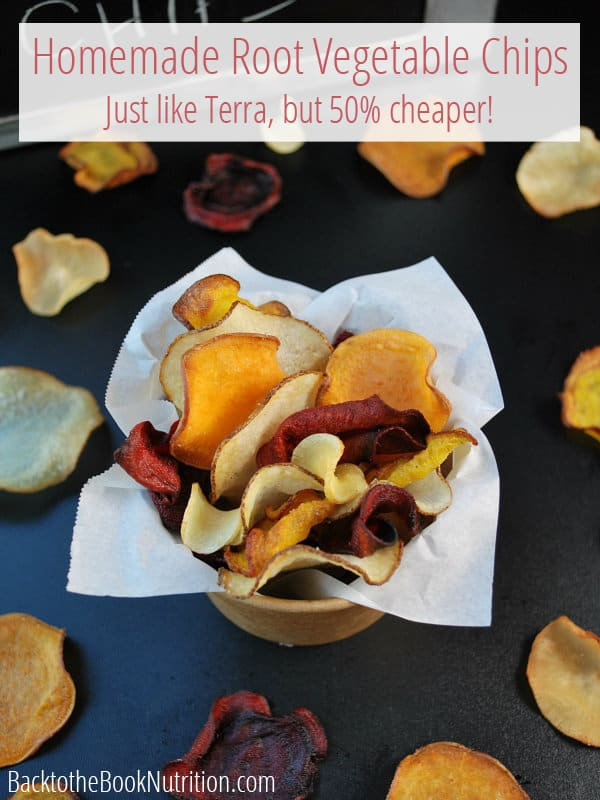 Delicious and crispy homemade root vegetable chips that are just like Terra, only much healthier and cost up to 50% cheaper! Save some cash and make them yourself! :: DontWastetheCrumbs.com