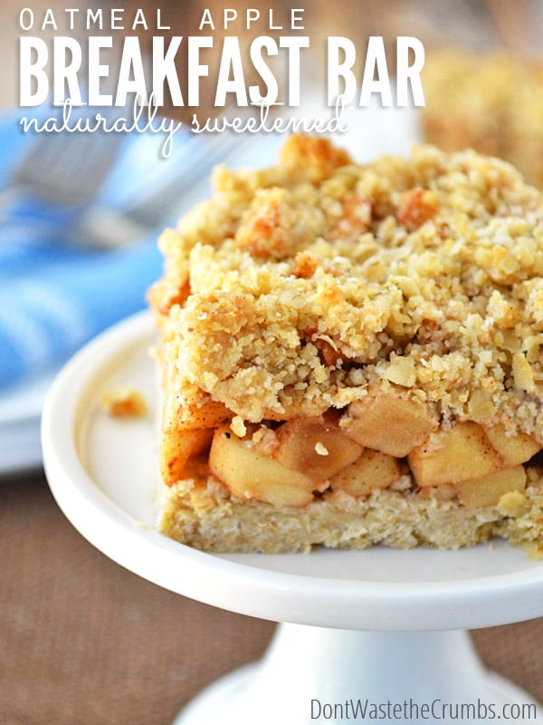 Nothing beats a slice of pie, don't you agree? This easy recipe for oatmeal apple breakfast bars are like having dessert for breakfast, except they're naturally sweetened, clean eating and healthy for you. Bonus - gluten-free and dairy-free options available. :: DontWastetheCrumbs.com