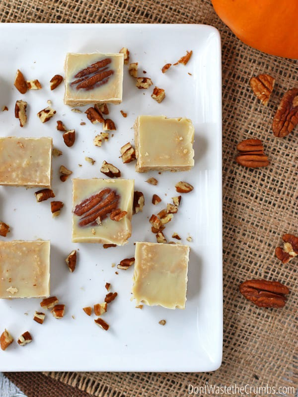 Looking for a quick and easy holiday dessert? This easy homemade pumpkin fudge recipe is perfect. It uses just 6 simple ingredients you probably already have in your pantry and it's ready in just 15 minutes! :: DontWastetheCrumbs.com