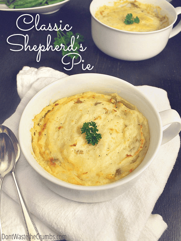 When you're looking for comfort food, nothing beats a classic shepherd's pie. Simple to make, easy to stock & frugal to boot - as low as $1.73 per serving!! :: DontWastetheCrumbs.com