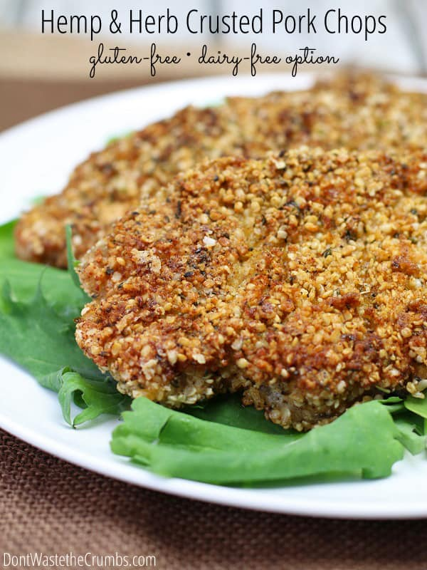A delicious alternative to traditional breadcrumbs, these hemp and herb crusted pork chops are pan-fried in coconut oil and are much more delicous than regular breadcrumbs. They also get bonus points for being gluten-free AND high in protein! :: DontWastetheCrumbs.com