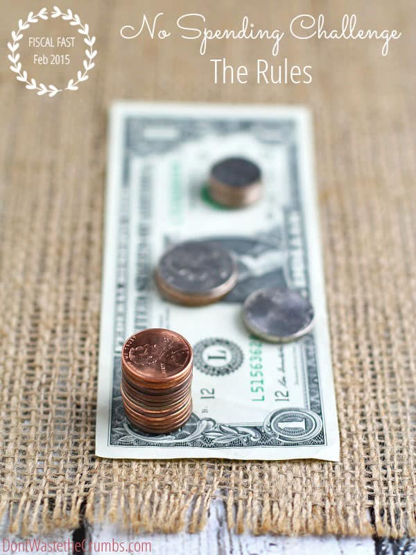 When you feel like you're overspending but have no clue where, or how to stop, start a fiscal fast. Tighten up your budget and find contentment in a no spending money challenge. Learn the rules of the game, why you should do it and how to survive the tough days! :: DontWastetheCrumbs.com