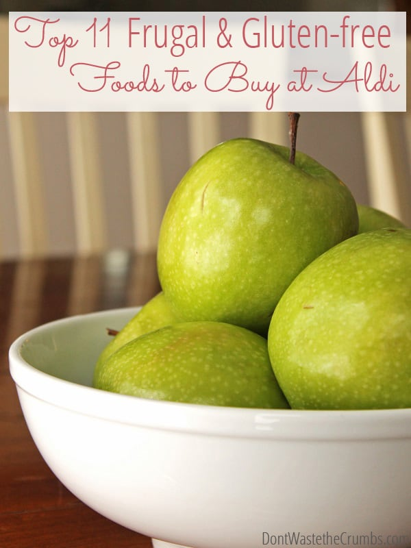 This list is such a help - top 11 picks of gluten-free foods, plus other allergy-friendly frugal foods to buy at Aldi. Along with other money-saving tips, this will definitely help keep my grocery budget under control! :: DontWastetheCrumbs.com