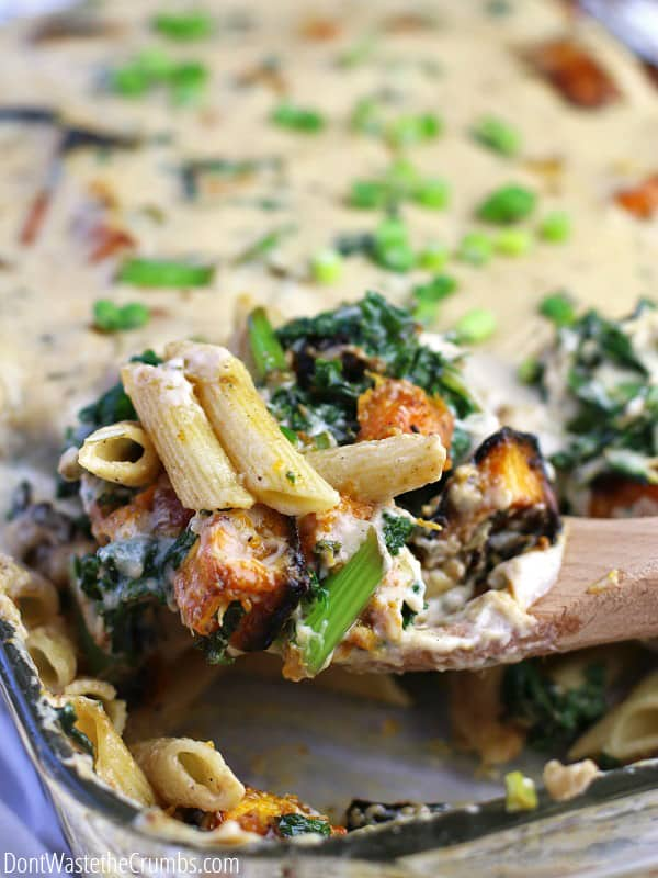 This creamy squash pasta bake is a comfort food, and healthy version of the casseroles your mom used to make. Roasted squash, seasonal greens and a creamy sauce hit the spot on a cold winter night, or even during a busy weeknight! The best part - the whole meal costs less than $10! :: DontWastetheCrumbs.com