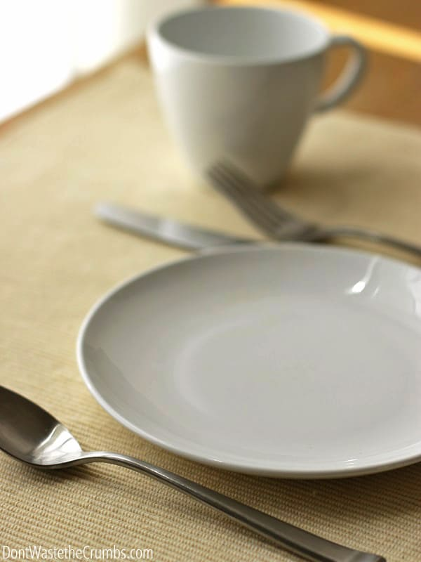 An empty place setting on a table.