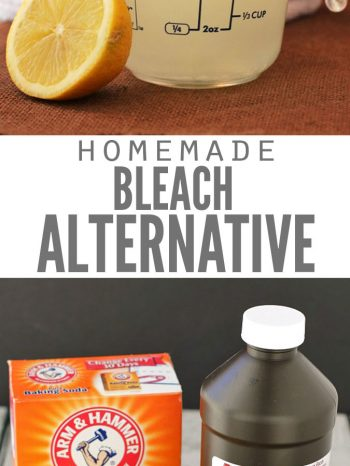 "Two images, the first is a pile of white laundry with a measuring cup of homemade bleach and half a lemon. The second image is a box of baking soda, a bottle of hydrogen peroxide, a lemon and essential oil. Text overlay says, ""Homemade Bleach Alternative""."