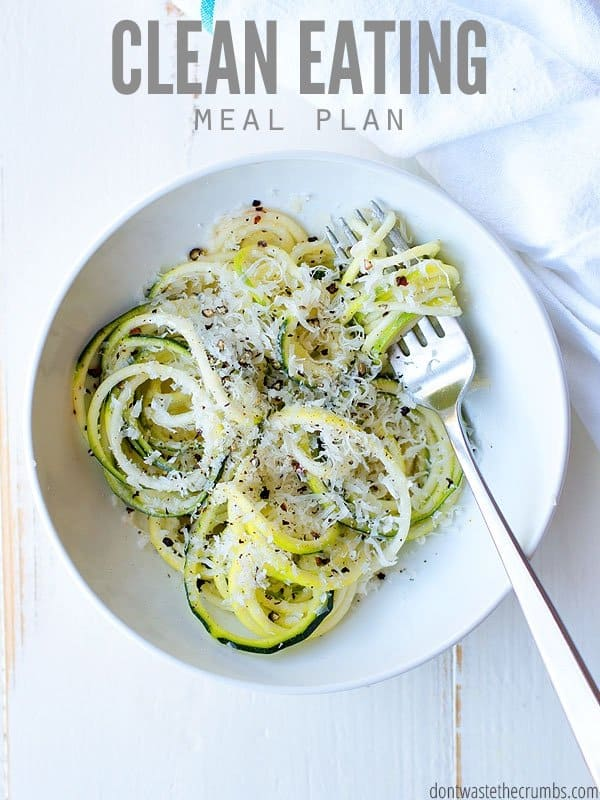 This clean eating meal plan will help you feed your family real food without going broke! This plan is designed to feed a family of four for about $350. :: DontWastetheCrumbs.com