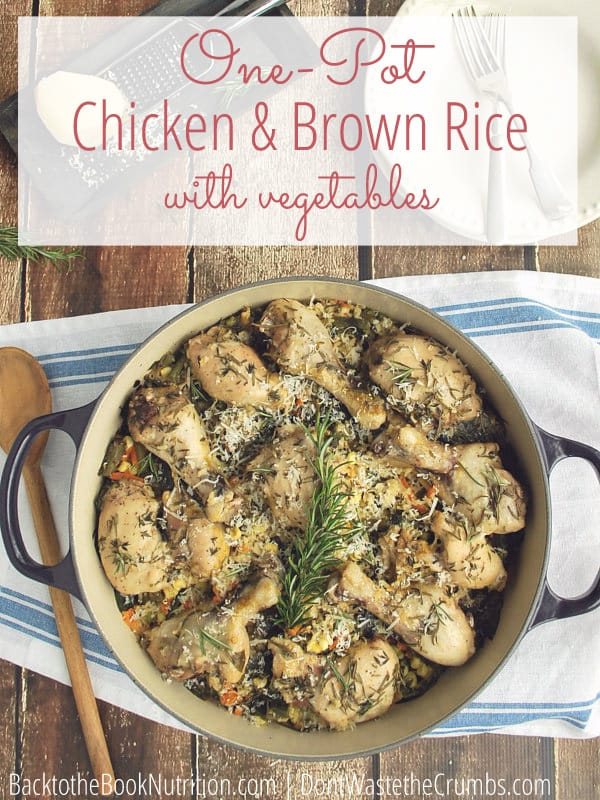 My favorite weeknight meal is this one pot chicken and rice with vegetables. It's a real food version of chicken and rice casserole, and practically cooks itself! :: DontWastetheCrumbs.com