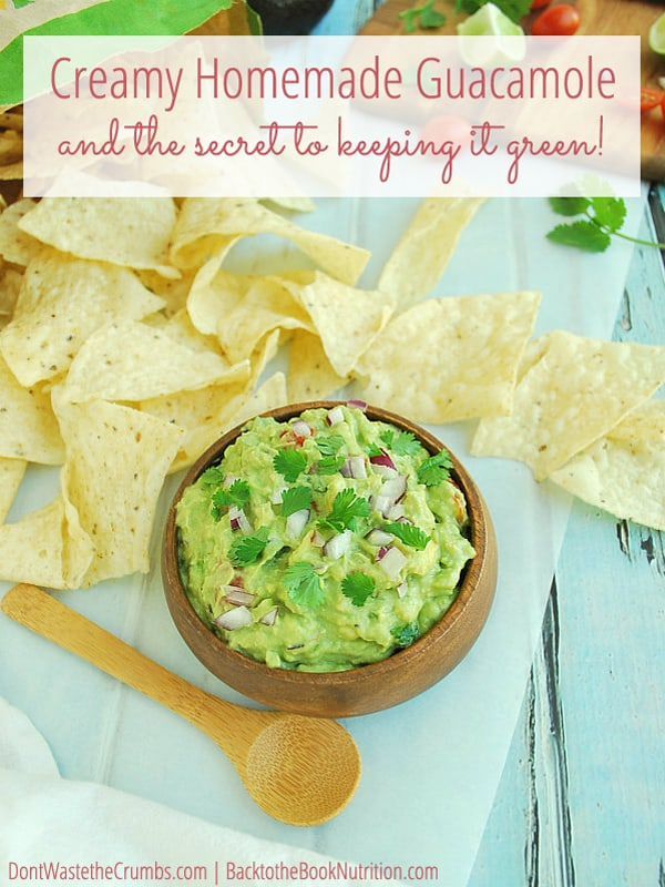 Kid-approved, this is our family's favorite homemade guacamole recipe and it beats every restaurant in town - hands down!! Plus the secret to keeping guacamole green - you'll be shocked at the simple secret! :: DontWastetheCrumbs.com