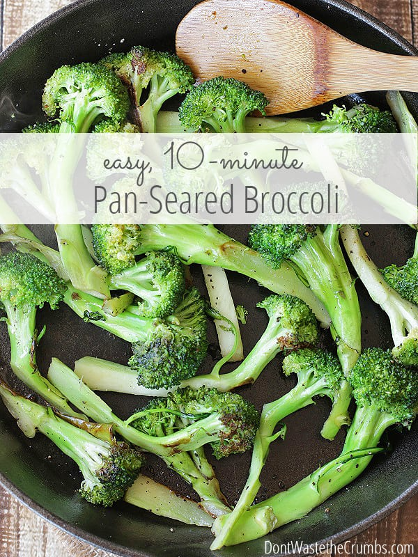 Kick boring broccoli to the curb and make a dish that your family with love! Pan seared broccoli is ready in just 10 minutes and needs no special ingredients. So good, my 5 year old keeps asking me to make this over and over again! :: DontWastetheCrumbs.com