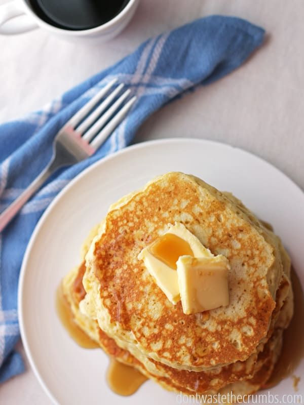 Delicous pancakes that are soaked overnight and made with whole grains! An easy recipe for breakfast that only take a few minutes to prepare. Clean eating, real food and a family favorite! :: DontWastetheCrumbs.com
