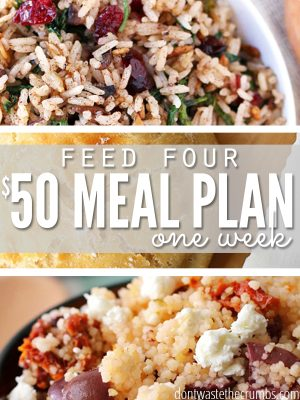 """Multiple images of food with text overlay, """"Feed Four $50 Meal Plan One Week""""."""